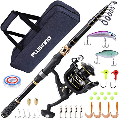 PLUSINNO Fishing Rod and Reel Combos Carbon Fiber Telescopic Fishing Rod with Reel Combo Sea Saltwater Freshwater Kit (2 Sections & Extended Handle Full Kit with Carrier Case, 2.74M 9Ft)