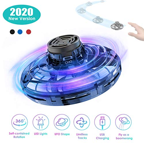 2020 UFO Drone Flying Toy Hand Controlled with RGB Lights Chargeable for Boys Girls(Blue)