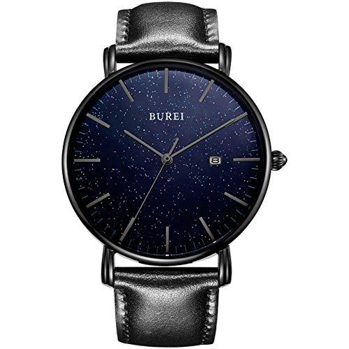 BUREI Ultra Slim herenhorloge, mode, zwarte kast, blauwe sterrenhemel, zwarte wijzers, datumweergave met leren riem