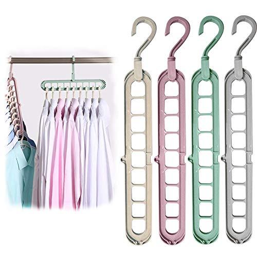 BITEFU 12 Stück 9 in 1 Kleiderbügel Platzsparende 360º-Drehbares Magic Kleiderbügel, Multi Bügel Cascading Clothes Hanger Organizer für Kleiderschrank Closet (4 Farben)