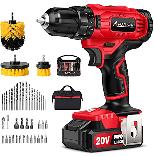 AVID POWER 20V Cordless Drill Set 320 In-lbs Torque Power Drill/Driver Kit with 41pcs Accessories, 3pcs Drill Brushes, 2 Variable Speed, 3/8'' Keyless Chuck and Storage Bag