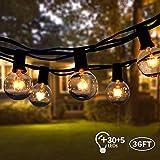 Lichterkette Außen,VIFLYKOO Lichterkette Glühbirnen Aussen G40 Wasserdichte Warmweiß Beleuchtung 30 Birnen mit 5 Ersatzbirnen 36FT Lichterkette Garten Dekoration für Hochzeit Party,Weihnachten