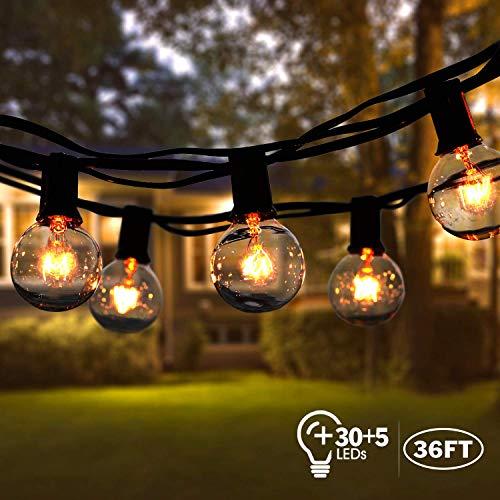 Lichterkette Außen,VIFLYKOO Lichterkette Glühbirnen Aussen G40 Beleuchtung 30 Birnen mit 5 Ersatzbirnen 36FT IP44 Wasserdicht Lichterkette für Garten,Terrasse,Bäume,Hof, Haus Party Deko - Warmes Weiß