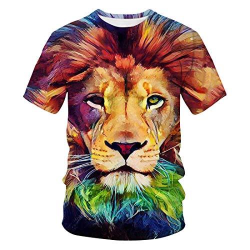 3D Lion Series Impreso Camiseta De Manga Corta Ropa De Hombre Casual