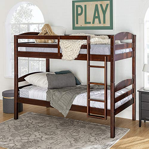 Walker Edison Furniture Company Wood Twin Bunk Kids Bed Bedroom with Guard Rail and Ladder Easy Assembly Espresso