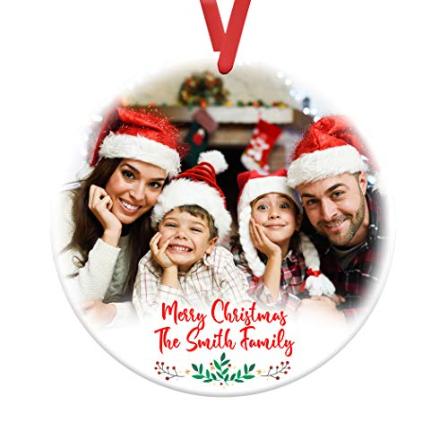 MtnGift Personalized Family Photo Ornament - Christmas Selfie Holiday Pic Memory Keepsake (3-inch Round)
