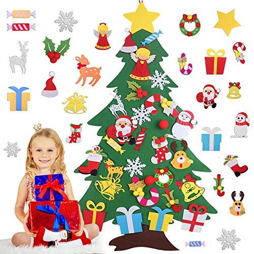 Feltro Albero Natale 3.0ft con Ornamenti 30 Pz DIY Staccabile Decorazione da Parete per Bambini Decorazione di Natale