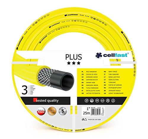 Cellfast Gartenschlauch PLUS 3-lagiger Wasserchlauch mit dauerhafter Verstärkung aus Garn höchster Qualität, druck- und UV-beständig, 25 bar Berstdruck, 25m, 1 zoll, 10-230