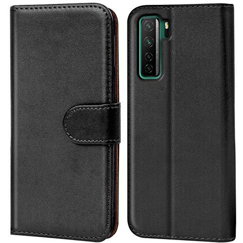 Verco Huawei P40 Lite 5G Hülle, Handyhülle für Huawei P40 Lite 5G Tasche PU Leder Flip Hülle Brieftasche, Schwarz