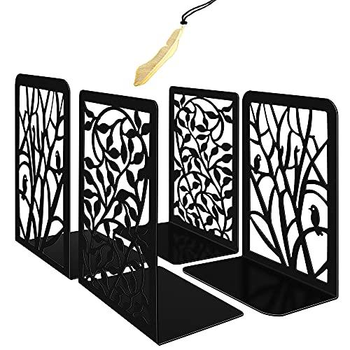 Iycnkok Sujetalibros Sujeta Libros Estantería de Metal, Marcapáginas Incluido, Apoya Soporte Libros Diseño de Hoja y Pájaro, para Infantil, Oficina, Escuelas, Decoración de Escritorio, 2 Pares Negro