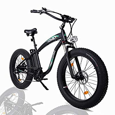 "ECOTRIC Powerful Fat Tire Electric Bicycle 26"" Aluminium Frame Suspension Fork Beach Snow Ebike Electric Mountain Bicycle 1000W Motor 48V 13AH Removable Lithium Battery (Black)"