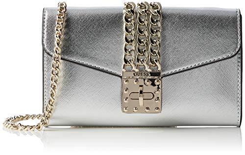 Guess Damen Prisma Clutch Umhängetasche, Silber (Silver), 23x13x4 centimeters
