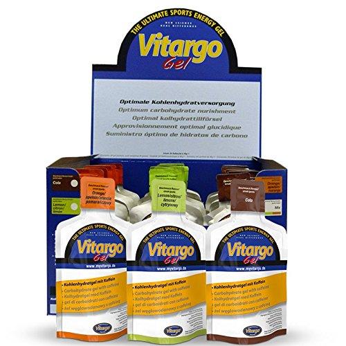 VITARGO Preparato alimentare in forma di gel per bevanda dietetica a base di carboidrati con caffeina, adatta agli sportivi per il bilanciamento energetico (Cola, 24 x 45 g)