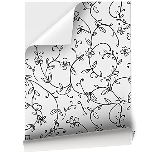 DON LETRA Vinilos para Muebles, 45 x 200 cm, Flores, Blanco y Negro, Papel Adhesivo Decorativo para Decoración del Hogar, VNL-067