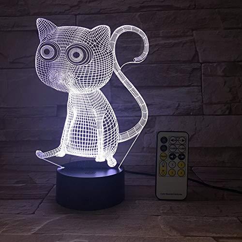 Control Remoto o táctil Agradable lámpara de Mesa de luz Nocturna para Gatos Grandes Ojos Abstractos como decoración del hogar y Regalo de cumpleaños para niños