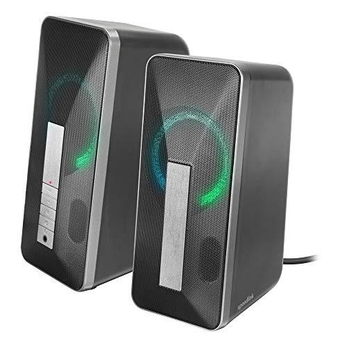 Speedlink LAVEL Stereo Speaker - Lautsprecher für PC mit Bluetooth und Klinkenanschluss -dezente LED-Beleuchtung, schwarz