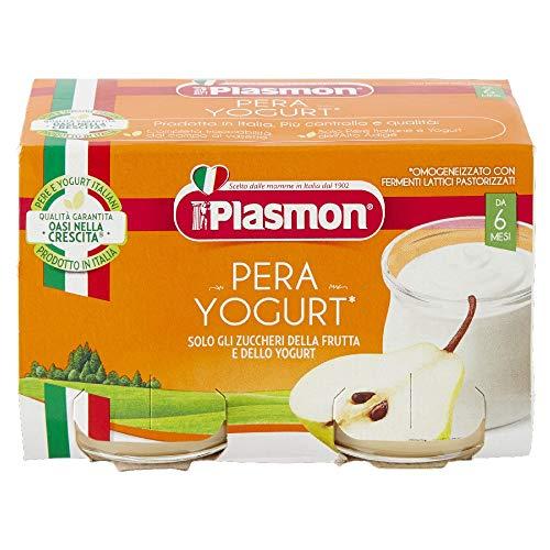 Plasmon Omogeneizzato, Pera e Yogurt, Confezione da 12 x 2 (120 g ciascuno)