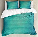 Ambesonne Teal Duvet Cover Set, Retro Inspired Grunge Style Abstract Pattern Vintage Design Calming Color Scheme, Decorative 3 Piece Bedding Set with 2 Pillow Shams, King Size, Turquoise Blue