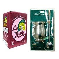 オーガニック マテ茶 ラ ルビア 1kg (茶葉・茎入り)&茶器セット