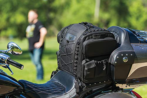 Kuryakyn 5284 Momentum Road Warrior Motorcycle Travel Luggage: Weather Resistant Seat/Trunk/Rack Bag with Sissy Bar Straps, Black