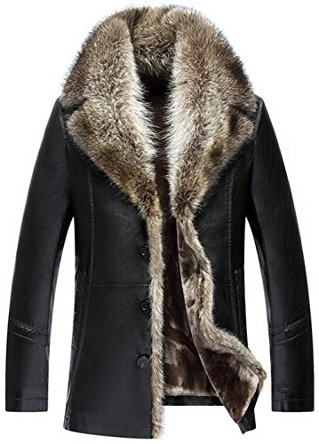 moxishop Herren Top Luxuriöse weiche Waschbär Pelz Kragen Faux Leder Mantel verdicken Warm Winter Oberbekleidung Long Parka (DE L = Tag XXL, D1090-Schwarz)