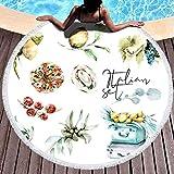Toallas de playa de gran tamaño, toalla de playa redonda Manta Toallas de playa para niños con borlas Dibujo Acuarela Set Viaje a Italia Maleta con divertida Toalla de playa Adecuado para piscina de p