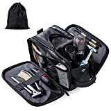 Elviros Borsa da Toilette in Pelle, Beauty Case da Viaggio per Uomo Donna, Toiletry Organi...