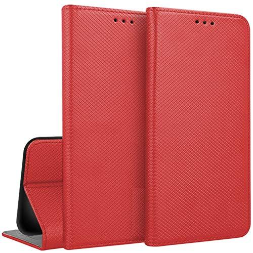 """compatibile per HUAWEI Y62 Y6II Y6 2 II COMPACT (LYO-L01) schermo 5.0"""" Custodia Cover Case Stand Libro Gel Silicone TPU Portafoglio Eco Pelle Porta Carte (ROSSO)"""