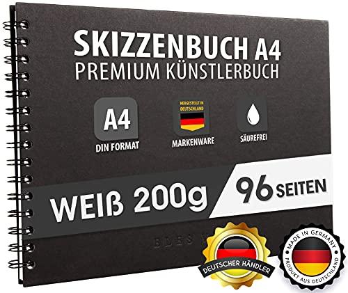 Skizzenbuch PREMIUM Qualität 200 g/m² mit schwarzer Spiralbindung A4 Querformat – Blattgröße 28,9 x 20,3 cm, Reißfestes, nicht ausblutendes, säurefreies Papier Weiß, Sketchbook - aus DEUTSCHLAND