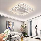 Lámpara de techo LED regulable de 72W sala de estar con control remoto lámpara de techo minimalista moderna, diseño creativo metal acrílico decorativo para dormitorio cuadrado blanco