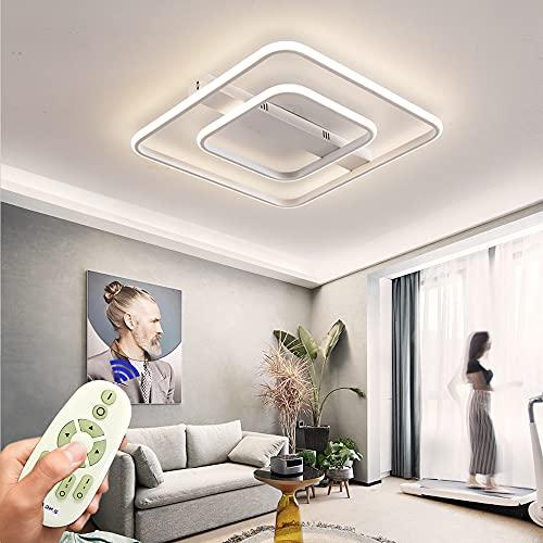 Lámpara LED de techo regulable de 72 W, lámpara de salón con mando a distancia, moderna lámpara de techo minimalista de metal acrílico, iluminación para dormitorio, lámpara decorativa cuadrada blanca