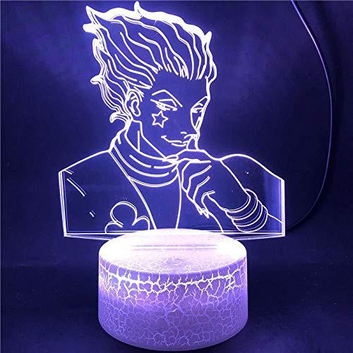 Boutiquespace Lámpara de ilusión 3D LED de luz nocturna Hisoka para decoración de habitación de niños Anime Hunter X Hunter para niños cumpleaños Navidad regalos