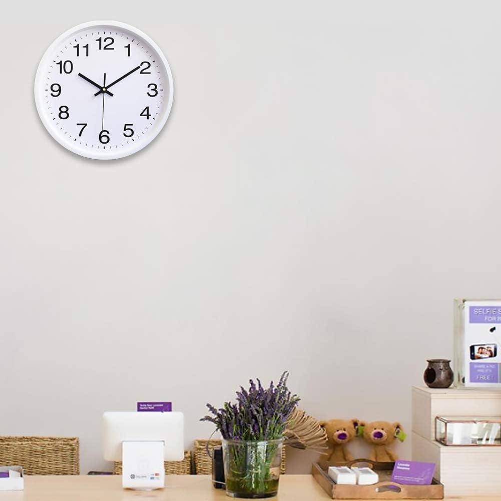Hoston 30cm Orologio da Muro Silenzioso Grandi Numeri con Fluorescenza, Orologio da Parete Design Moderno Quarzo Movimento Silenzioso Sweep per Cucina Ufficio Argento casa