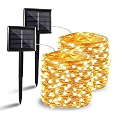 【Why Choose This Solar String Lights Outdoor】: Longer Working Time with 1800MAH Larger Capacity Battery, Super Bright, IP65 Waterproof Performance, High Quality Flexible Copper Wire, Quick Charging Technology, Romantic Decoration 【Upgraded Durable So...