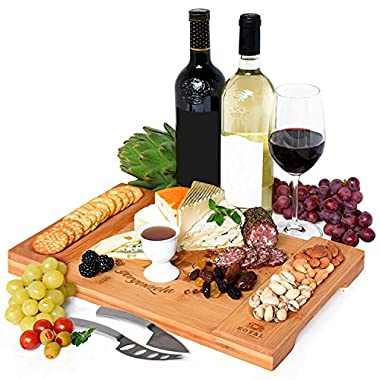Unique Bamboo Cheese Board, Charcuterie Platter and Serving Tray for Wine, Crackers, Brie and Meat. Large and Thick Natural Wooden Server - Fancy House Warming Gift & Perfect Choice for Gourmets