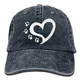 xinfub Gorra de béisbol Unisex Sombrero de Tela de Mezclilla Gato Gato Pata Impresiones Corazón Ajustable Snapback Caza de Caza Red Rojo 27