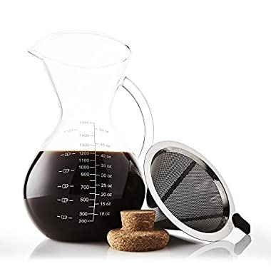Apace Living Pour Over Coffee Maker Set w/Coffee Scoop and Cork Lid - Elegant Coffee Dripper Pot w/Glass Carafe & Permanent Stainless Steel Filter (1500 ml/51 oz)