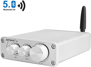 AIYIMA Bluetooth 5.0 Dual Channel HiFi TPA3116 Stereo Digital Audio Amplifier Receiver Class D Integrated Amp 2.0CH For Home Speakers 50Wx 2 With Treble & Bass Control(Silver-BT 5.0)