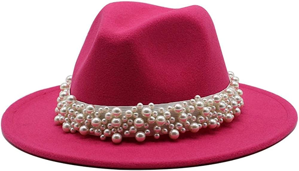 Women's and Men's Fedora Hat Classic Wide Elegant Brim Panama Wool Jazz Hat Daily Travel Cowboy Hats with Decoration Red