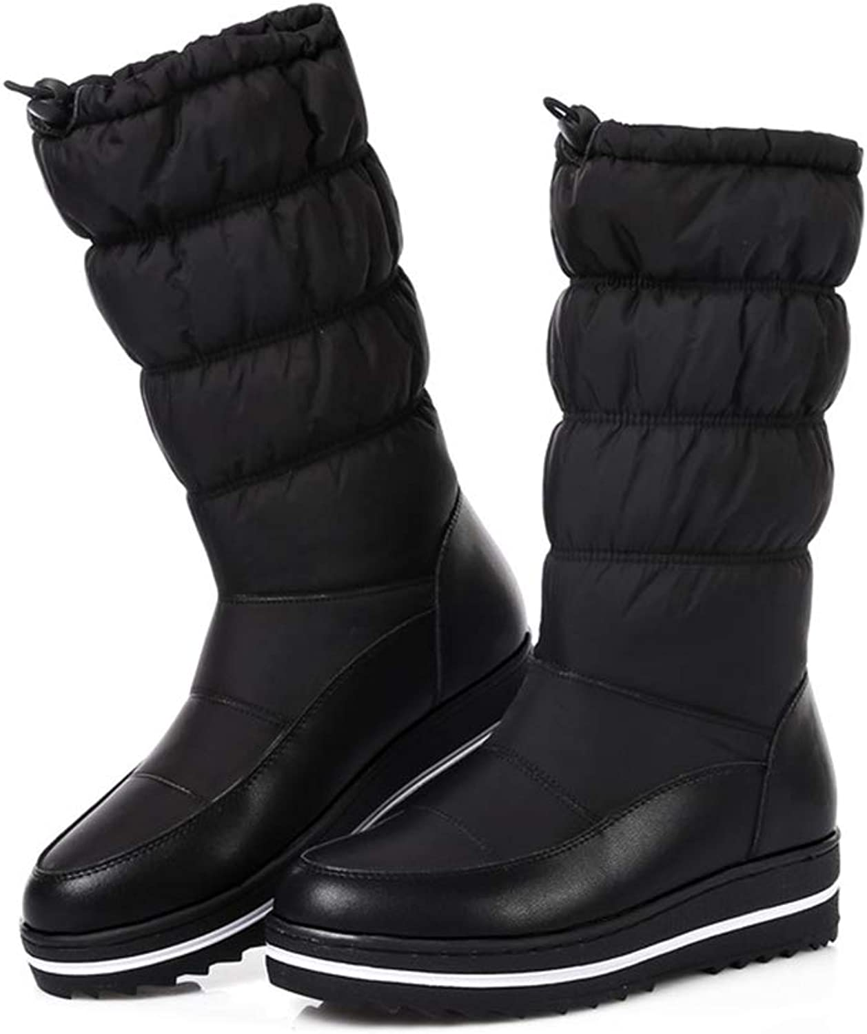 Btrada Women's Mid-Calf Boots Fashion Down Waterproof Keep Warm Snow Boot Solid color Female Casual shoes