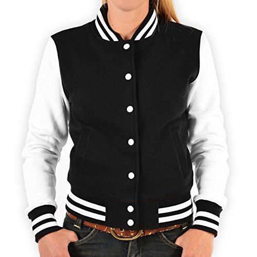 Goodman Design Oldschool College Jacken Frauen Jacke Blumen Totenkopf Rockerbilly Baseball-Jacken Übergangsjacke Damen Jacke Biker Jacke Farbe: schwarz Gr: M