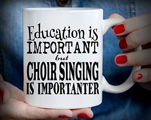 Kaffeetasse für Cappuccino, Latte oder heißen Tee, Education is important but chor singing is importanter, lustiger Chor singende Tasse, 325 ml
