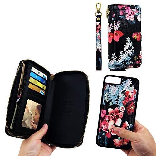 iPhone 8 Plus Wallet Case,iPhone 7 Plus Wallet Case - XGrand Zipper Purse Leather Detachable Magnetic14 Card Slots Money Pocket Clutch Wallet Case for iPhone 8 Plus/7 Plus/6 Plus/6S Plus Black