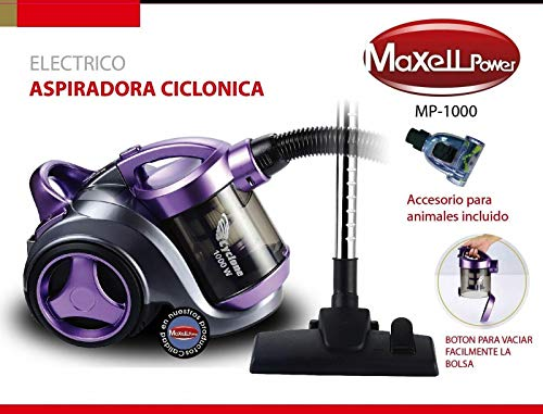 Maxell Power CE ASPIRADORA Aspirador CICLÓNICO SIN Bolsa Filtro HEPA Boquilla Animales Incluido MP-1000