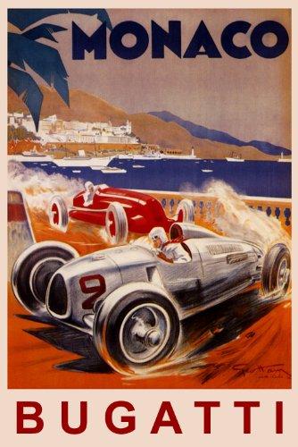 MONACO BUGATTI FASTEST ITALIAN CAR RACING GRAND PRIX RACE 16' X 24' IMAGE SIZE VINTAGE POSTER REPRO
