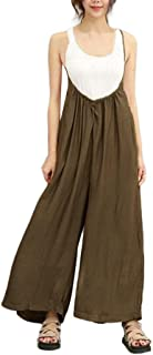 bec8b4cc4be Rambling New Flowy Women Wide Leg Pants Casual Loose Dungarees Overalls  Jumpsuits Outfits Long Trousers Rompers