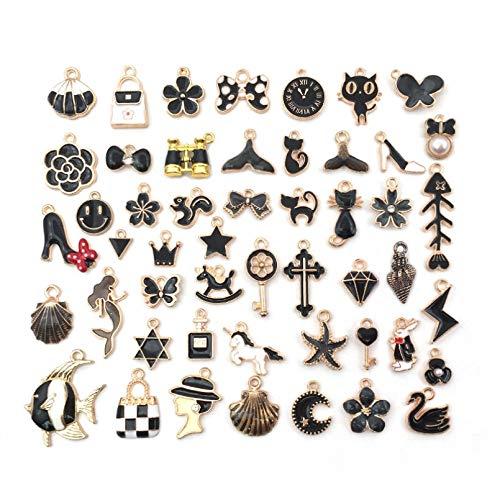 HGFJG 50 Uds, Colgante De Pulsera con Dije De Esmalte De Aleación Negra para DIY, Accesorios De Moda, Collar, Pendiente, Colgante