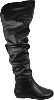 Lounge Women Over The Knee Thigh High Flat Slouchy Boots Faux Leather Slip On KALISA-112