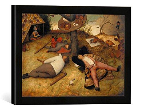 Gerahmtes Bild von Pieter Brueghel der Ältere Das Schlaraffenland, Kunstdruck im hochwertigen handgefertigten Bilder-Rahmen, 40x30 cm, Schwarz matt