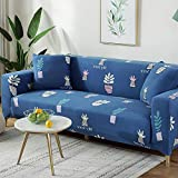XVBABY Thick Sofa Covers 1/2/3/4 Seater Elastic Lazy Universal Sofa Cover, All-Inclusive Four Seasons Universal Non-Slip Sofa Cover Double Seat (145-185Cm) Blue-Potted Plant
